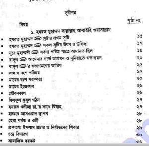 নবী রাসুলগনের জীবনী pdf বই ডাউনলোড সুচীপত্র