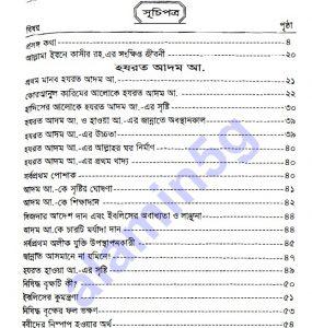 সহজ কাসাসুল আম্বিয়া pdf বই ডাউনলোড সুচীপত্র