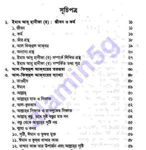 আল ফিকহুল আকবার pdf বই ডাউনলোড সুচীপত্র